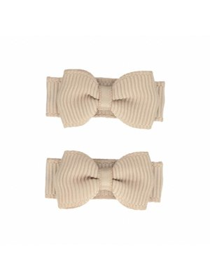 Your Little Miss Baby haarspeldjes met strik 2-pack | taupe