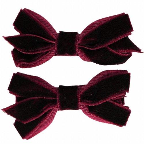 Your Little Miss Haarspeldjes met velvet strik | dark purple
