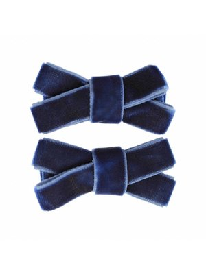 Your Little Miss Baby velvet haarspeldjes 2-pack | navy
