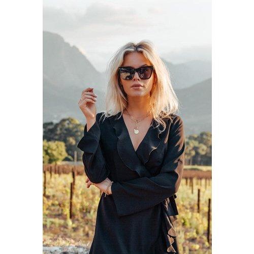 Colourful Rebel 6137 TELSA LONGSKEEVE WRAP DRESS | black