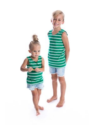 Beau Hudson Grass Green and White Ribbed Stripe Singlet