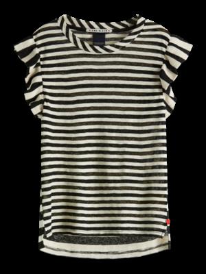 152401 Striped tee with ruffle sleeve