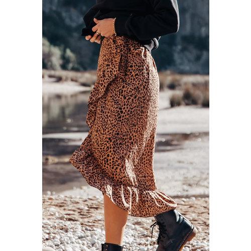 Colourful Rebel 6063 - Violet Satin Leopard Skirt