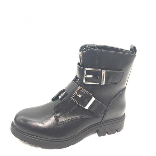 Biker boots gespen | black/silver