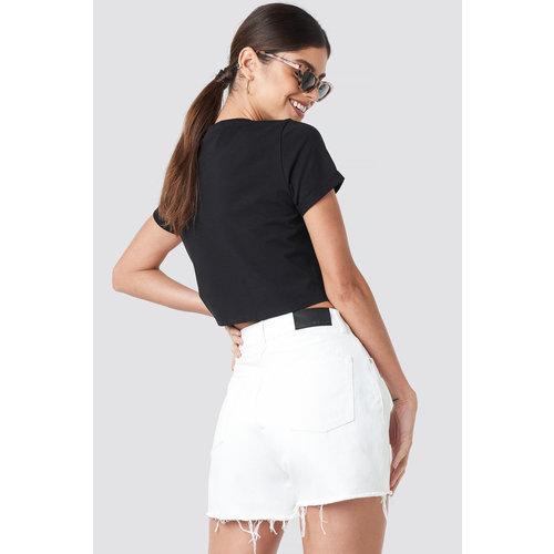 NA-KD 1018-002616 High Waist Raw Hem Denim Shorts // WHITE