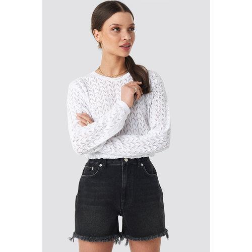 NA-KD 1018-002616 High Waist Raw Hem Denim Shorts // BLACK WASH