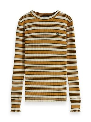 150885 Striped l/s tee with ruffle at the bottom of the sleeve // 22