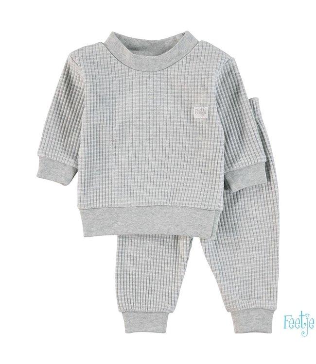 Wafel pyjama 305.533 | grijs melange