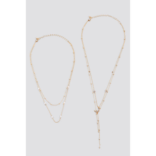 NA-KD Multi Pearl Moon Drop Necklaces 1015-001328