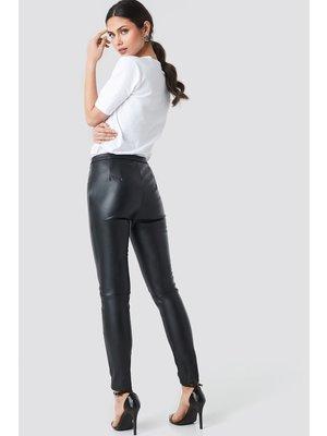 NA-KD 1018-002532 PU Raw Hem Skinny Leggings, Black