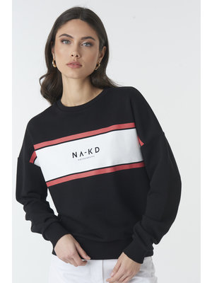 NA-KD 1018-002390 LOGO SWEATSHIRT | black/white