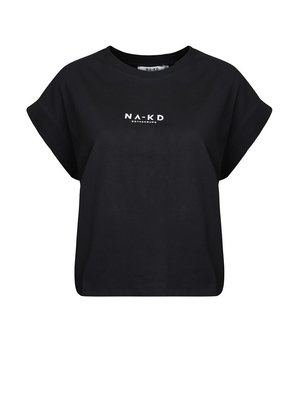 NA-KD 1018-002392 LOGO CROPPED BOXY T-SHIRT | antracite