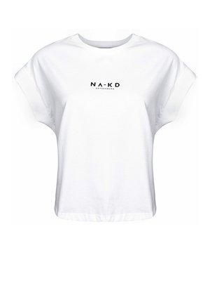 NA-KD 1018-002392 LOGO CROPPED BOXY T-SHIRT | white