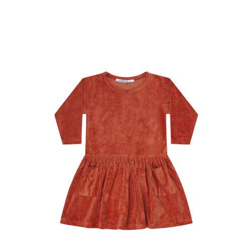 MINGO Dress rib velvet Red Wood