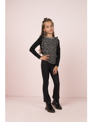 FLO BLACK DOT RUFFLE TOP F908-5111
