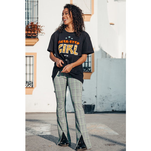 Colourful Rebel 5759 – CHECK FLARE PANTS WITH SLIT
