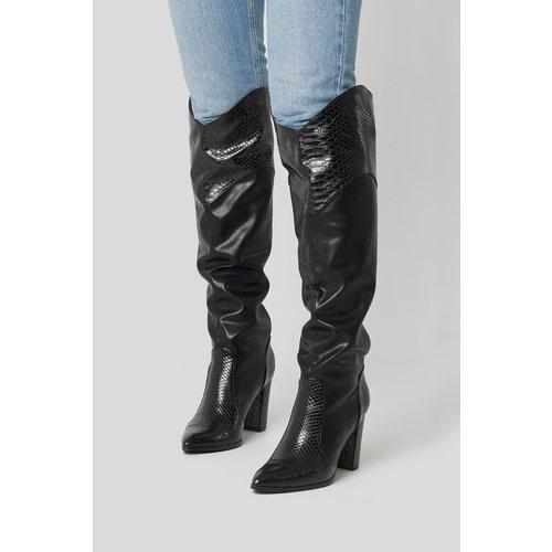 NA-KD High western boots 1623 - 000032   BLACK