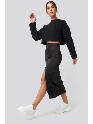 NA-KD Slit Satin Skirt 1628-000025 | black