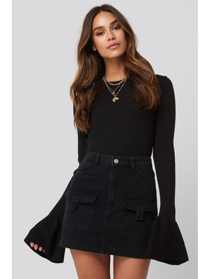 NA-KD Denim Cargo Skirt 1628-000023 | black