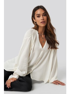 NA-KD Deep Neck Blouse 1628-000022 | offwhite