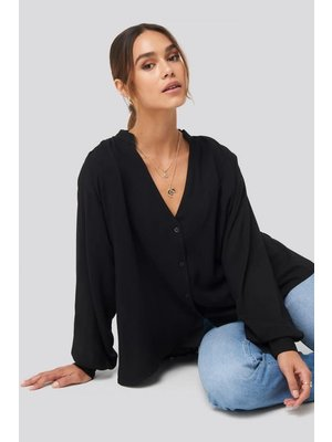 NA-KD Deep Neck Blouse 1628-000022 | black