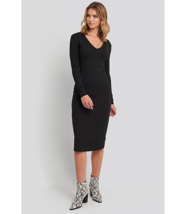 V-NECK RIBBED DRESS 1018-003223 | black