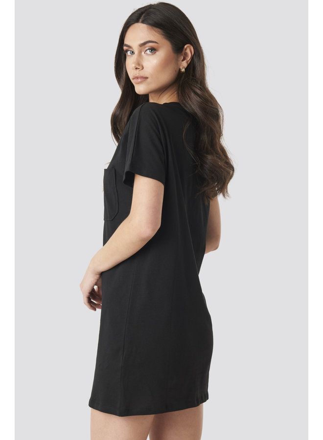 T-SHIRT DRESS POCKET 1100-001974 | black