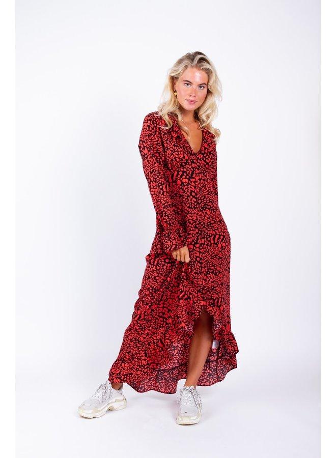 7065 Xhena Leopard Ruffle Assymetric Dress
