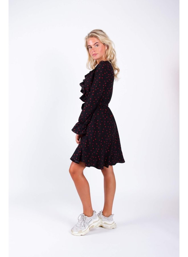 7172 CEIL HEARTS RUFFLE DRESS | BLACK