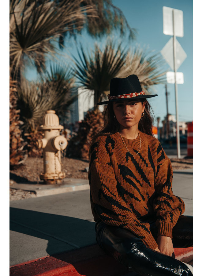 7166 - SASHA ZEBRA KNITWEAR SWEATER WOMEN COGNAC