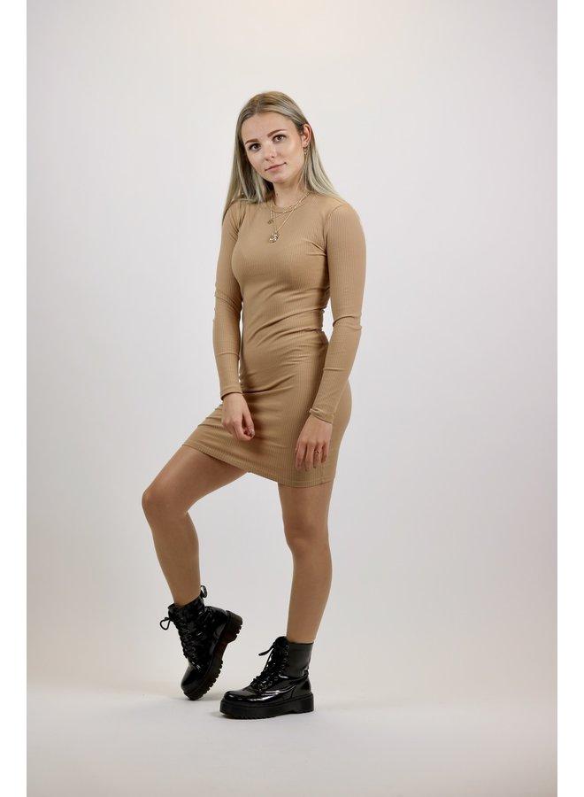 BASIC RIBBED DRESS | taupe
