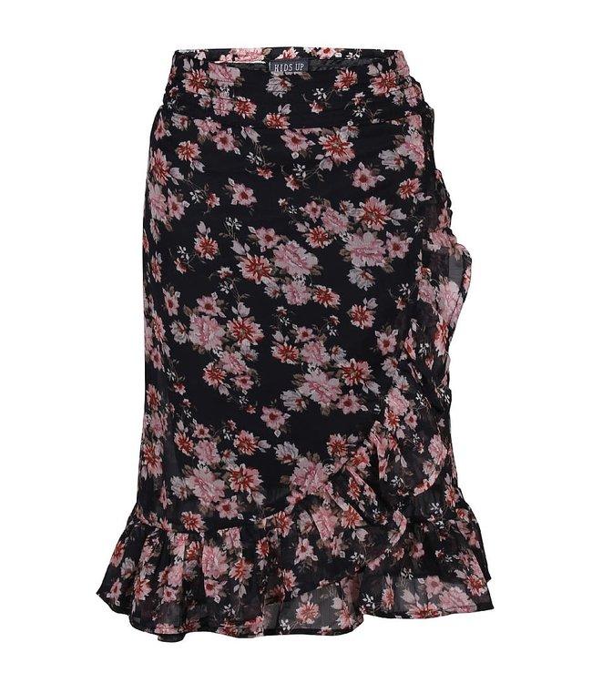 WRAP SKIRT FLOWERS 7503567 // black