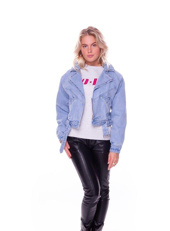 8055 - Rex Denim Biker Jacket Blue
