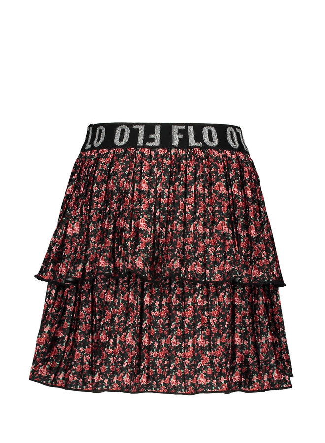 SHINY PLISSE SKIRT F002-5720 | flower