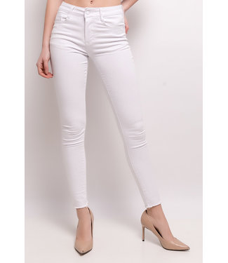 Skinny jeans raw hem | white