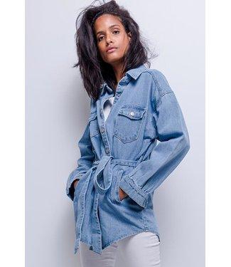 Belted denim jacket | blue