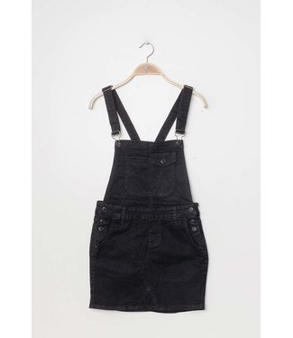 Denim dungaree dress | black