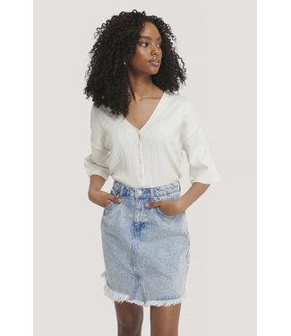 NA-KD Raw hem denim skirt 1100-002985 | l blue