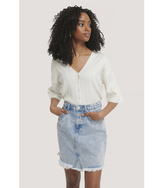 Raw hem denim skirt 1100-002985 | l blue