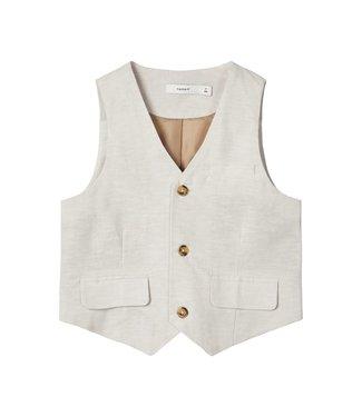 name it NMMFALCON Waistcoat 13175698 | white pepper