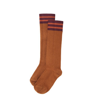 MINGO Rib Knee Socks Light Caramel / Plum / Terracotta