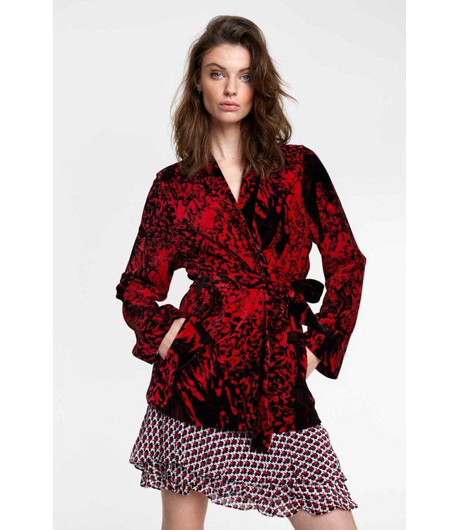 Big bull rib kimono - warm red