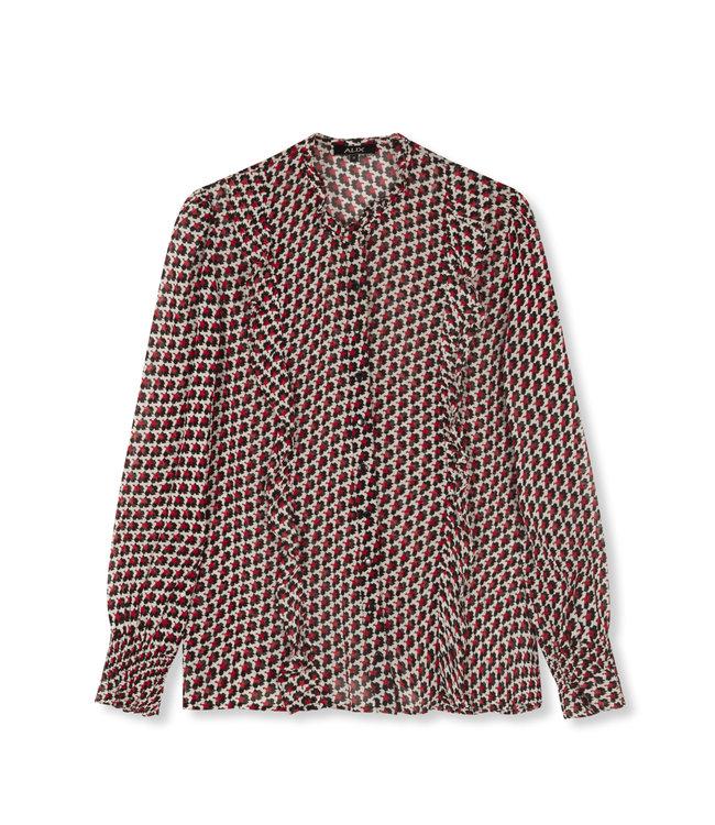 Star chiffon blouse - warm red