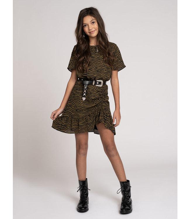 Valerie Zebra Dress 5078 - military green