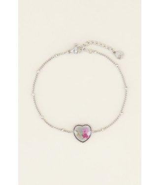 My Jewellery Armband wildflower hartje - zilver