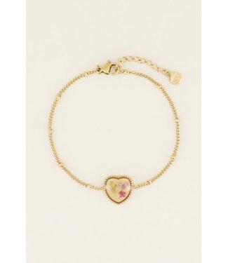 My Jewellery Armband wildflower hartje - goud
