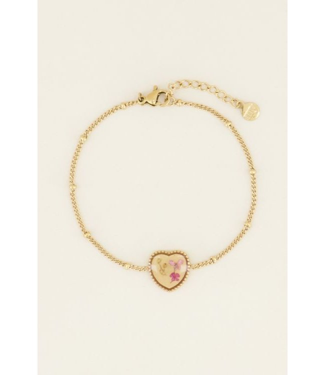 Armband wildflower hartje - goud