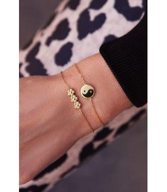 My Jewellery Armband drie bloemetjes - goud