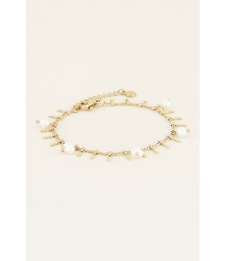 My Jewellery Armbandje staafjes & parels - goud