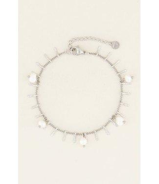My Jewellery Armbandje staafjes & parels - silver